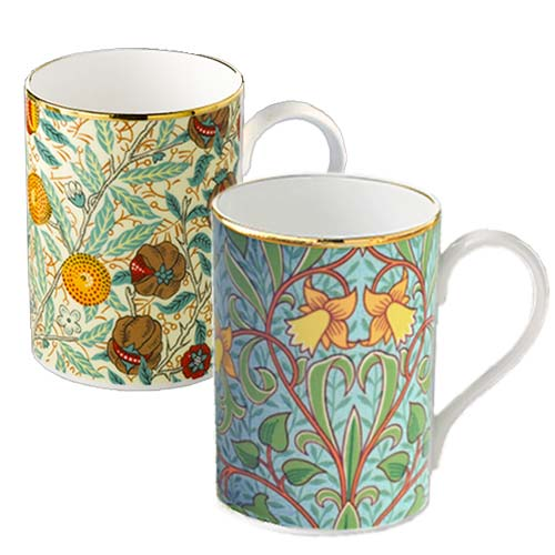 *Fine Bone China Becher »Narzissen« und »Granatapfel« im 2er Set - Design William Morris