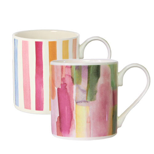 *   Fine Bone China Becher-Set Pink City & Streifen Kirsche - Design bluebellgray