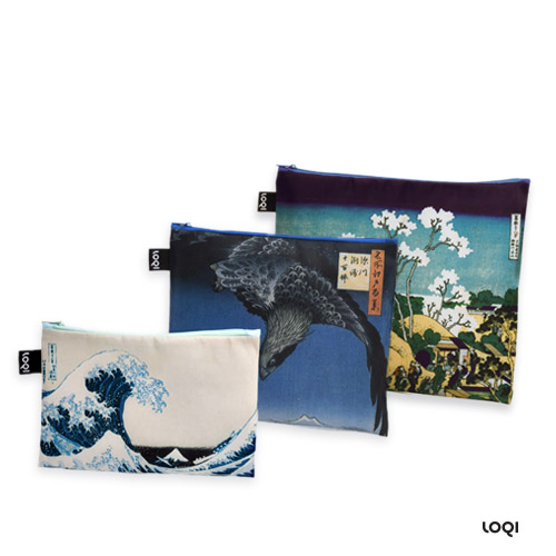 *   Taschen-Set HOKUSAI - LOQI Zip Pockets Museumskollektion