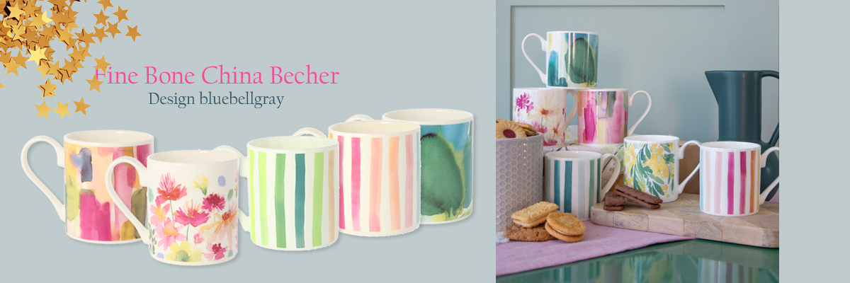 Fine Bone China Becher - Design bluebellgray