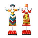 Designfiguren-Paar »Minoische Göttinnen in Rot und Blau« »