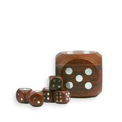 Würfelbox aus Holz mit 5 Würfeln
